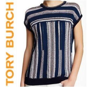 (NWOT) TORY BURCH Short Sleeve Open Knit Sweater
